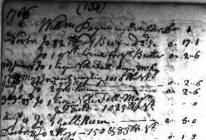 Portion of record in Henry Fitzhugh (Colonel)'s plantation ledger