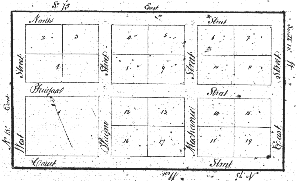 "Providence Town Survey Plat: ""The Lotts are all 8 by 10 poles [132 by 165 feet] - the Streets 50 feet wide - and the whole laid down by a scale of 10 poles to an inch."" (Fairfax Deed Book M2:135)"