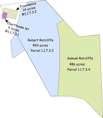 Division of Parcel 1.1.7.3 - Portions of Robert Ratcliffe's land, Town of Providence and the Courthouse lot extend beyond the parcel's boundary on land outside Ravensworth.