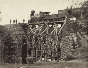 Cars of U.S. Military Railroad, and Bridge Built by Soldiers. Orange and Alexandria Railroad.